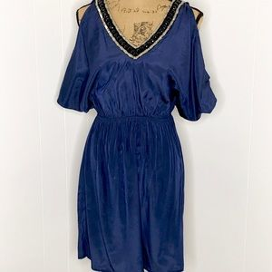 Soprano Midnight Navy Cold Shoulder Dress-NWT-XS